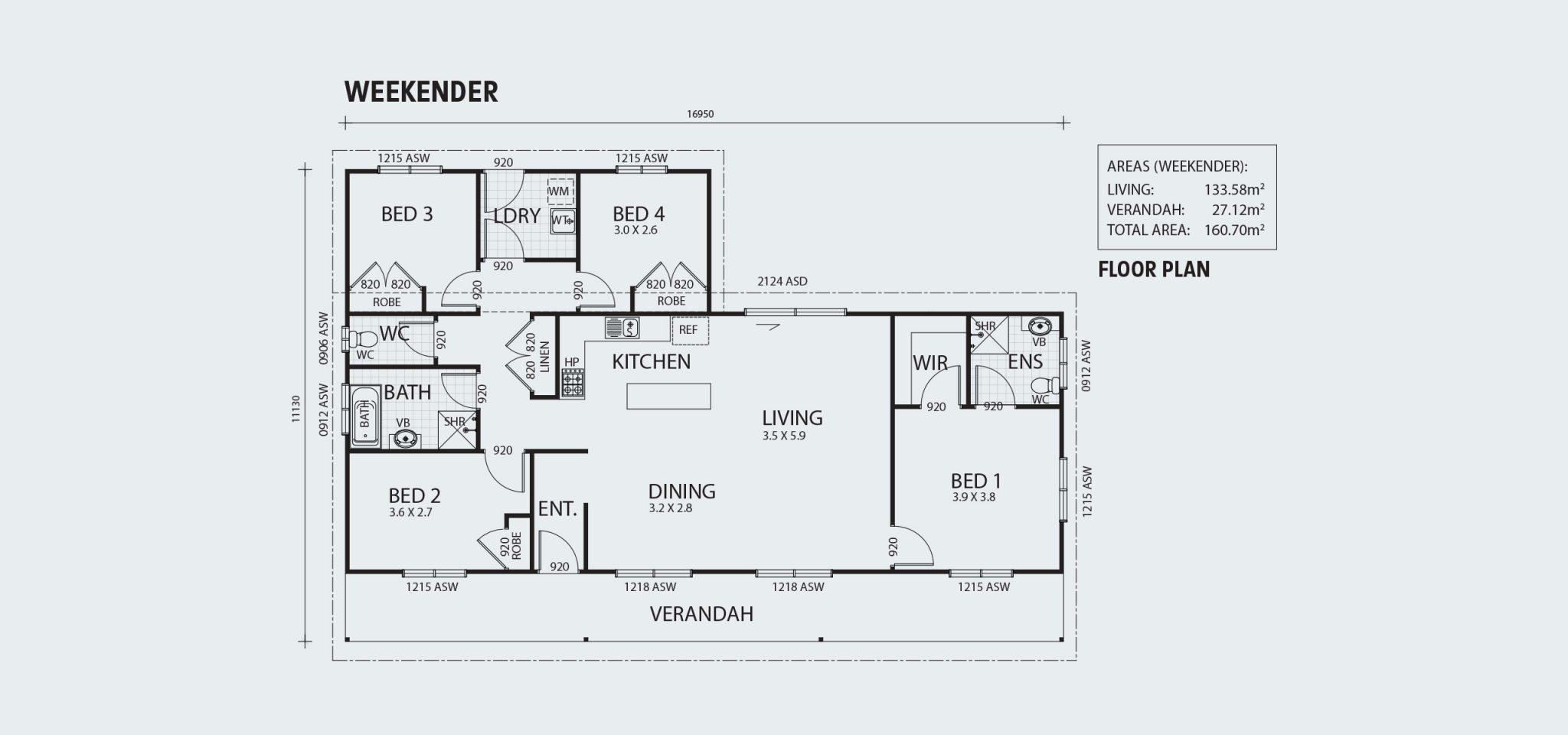 Weekender R160 Floorplan